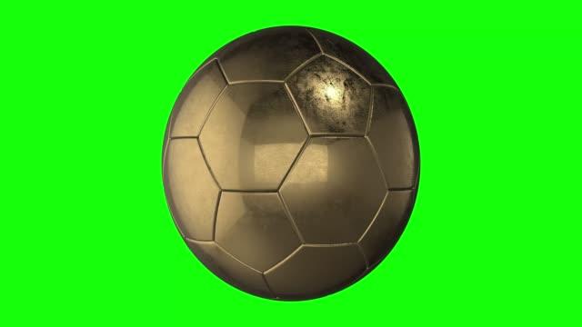 vídeos de stock e filmes b-roll de green screen metal soccer balls gold silver and brass position prizes animation 3d - campeão desportivo