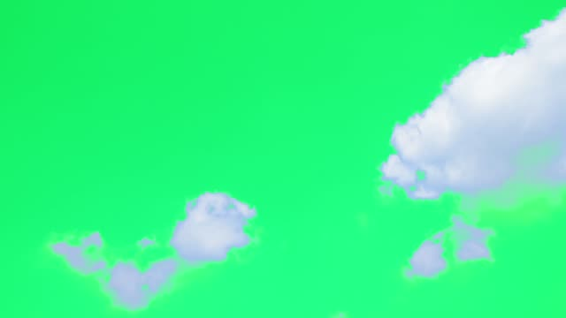 Green screen of moving white clouds.