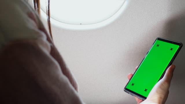 Green screen on airplane