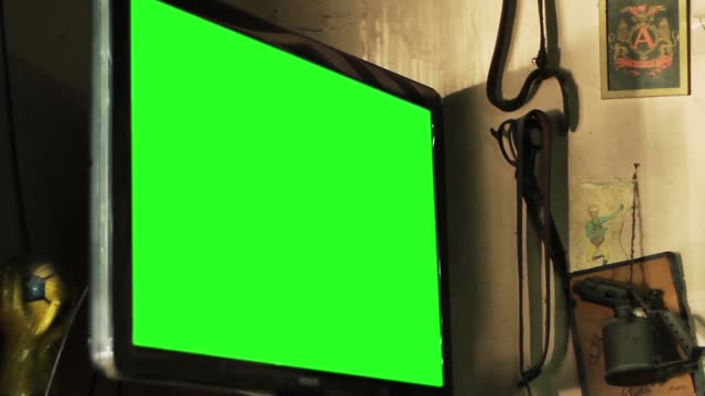 Green Screen Television in a Bar.