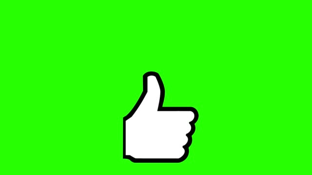 green screen thumbs up plus one like social media - icona mi piace video stock e b–roll