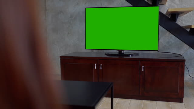 Green screen TV on living room video