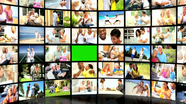 CG Green Screen Video Wall Lifestyle Activities Multi Ethnic Couples video