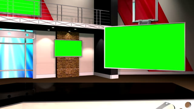 Green Screen Virtual News Studio 12 Template - With Desk video