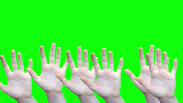 Green screen waving female hands at bottom of screen with matte