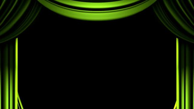 verde su sfondo nero sipario - sipario video stock e b–roll