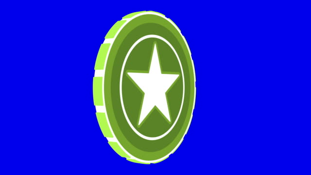 Green star medal or coin looped rotate. Seamless video available in 4K FullHD
