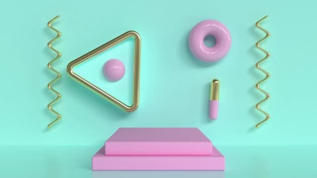 green wall pink stage geometric shape 3d rendering abstract motion