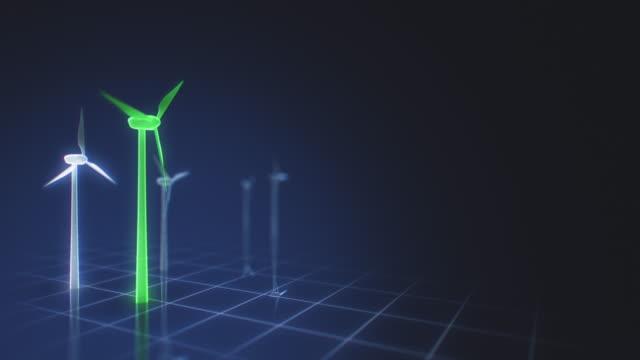 gröna vindkraftverk på en futuristisk grid interface - designelement bildbanksvideor och videomaterial från bakom kulisserna