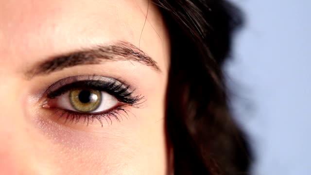 Green Woman Eye Close Up video
