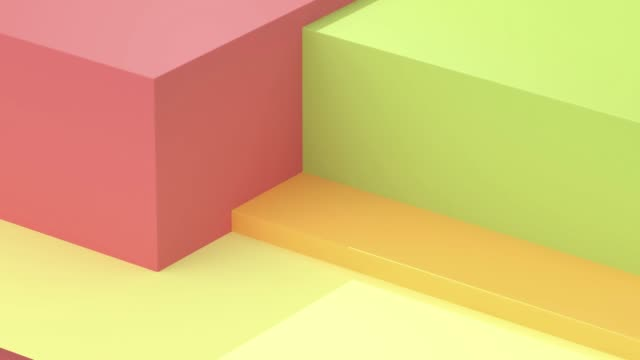 green yellow red geometric shape motion 3d rendering