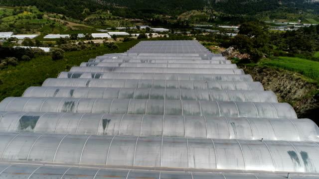 gewächshäuser in der farm drone shots-antalya/türkei - gewächshäuser stock-videos und b-roll-filmmaterial