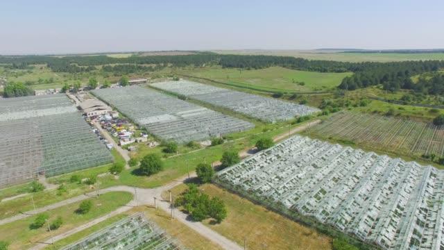 antenn: växthus på jordbruket gårdar - roof farm bildbanksvideor och videomaterial från bakom kulisserna