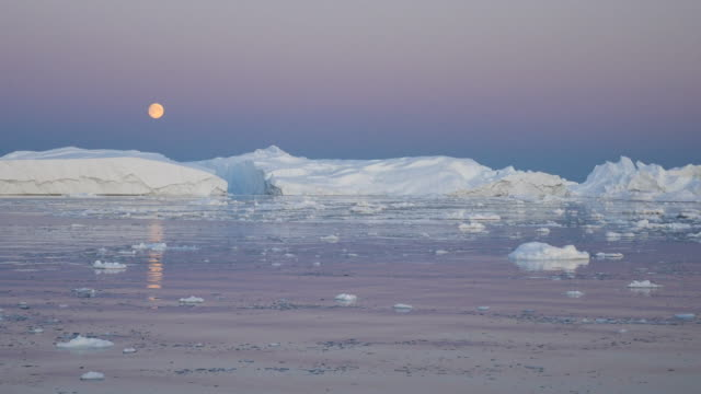 Greenland by boat, full moon panorama video