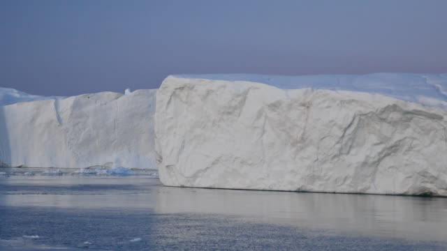 Greenland by boat, slides along white iceberg video