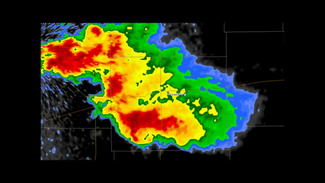 Greensburg, Kansas 2007 Tornado Doppler Radar Time Lapse Doppler Radar Imagery of the supercell which spawned the historic EF5 Tornado that impacted the city of Greensburg, Kansas in the evening of May 4th, 2007.  meteorology stock videos & royalty-free footage