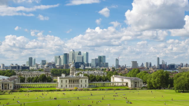 Greenwich and Canary Wharf view from Observatory hill video