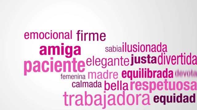vídeos y material grabado en eventos de stock de tarjeta de felicitación con mensaje feliz dia de la mujer - día de la mujer feliz en idioma español. comience con una nube de palabras en colores rosa y morados que aparecen uno por uno para formar la silueta de la cabeza de la mujer - memorial day
