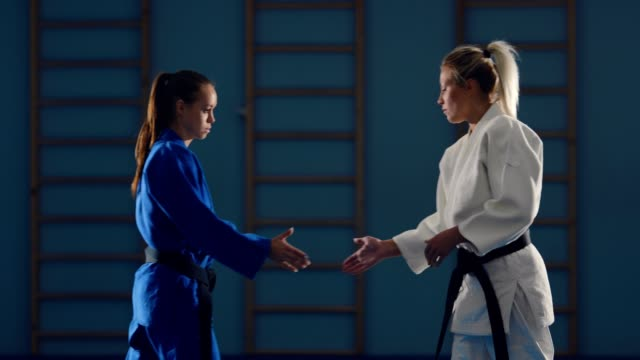 Greeting fighters, shaking hands and starting sparing. Judokas fit together. Greeting fighters, shaking hands and starting sparing. Judokas fit together. wrestling stock videos & royalty-free footage