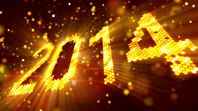 greeting new year 2014 of shining yellow elements video