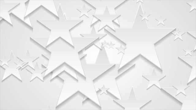 Grey and white paper stars abstract corporate motion background
