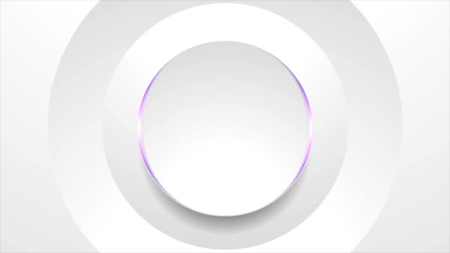 Grey circle with violet light abstract tech motion background