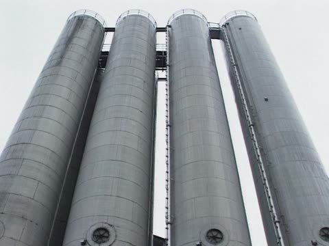 Grey factory chimney video