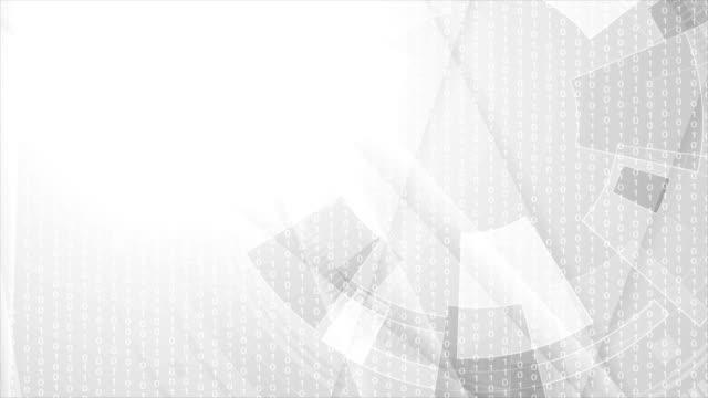 회색 기하학적 기술 비디오 애니메이션 - 배경 초점 스톡 비디오 및 b-롤 화면