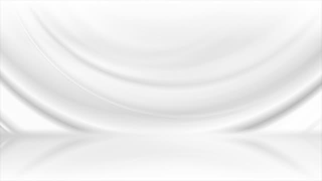 vídeos de stock e filmes b-roll de grey white smooth waves abstract tech motion background - padrão repetido