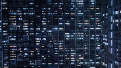 t/l ha zo grid apartment / peking, china - beleuchtet stock-videos und b-roll-filmmaterial