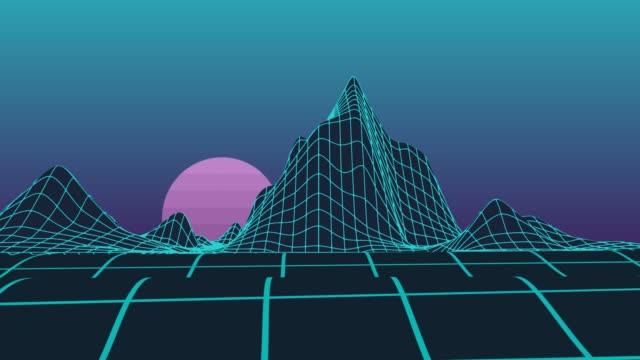 raster neon berge videoanimation wellen mit bardovoy mond - kartographie stock-videos und b-roll-filmmaterial