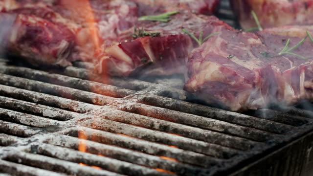 Grill beef steak HD video