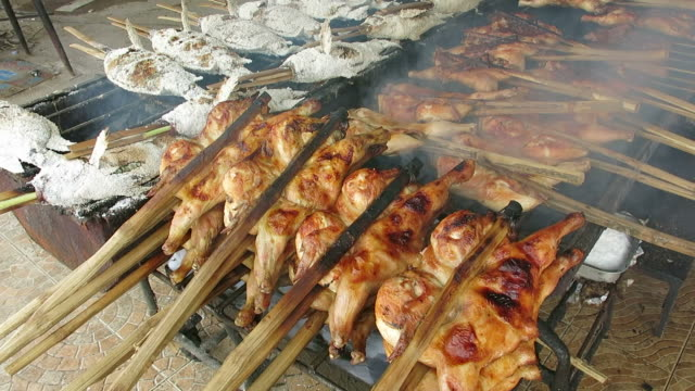 Grilled chicken and fish video