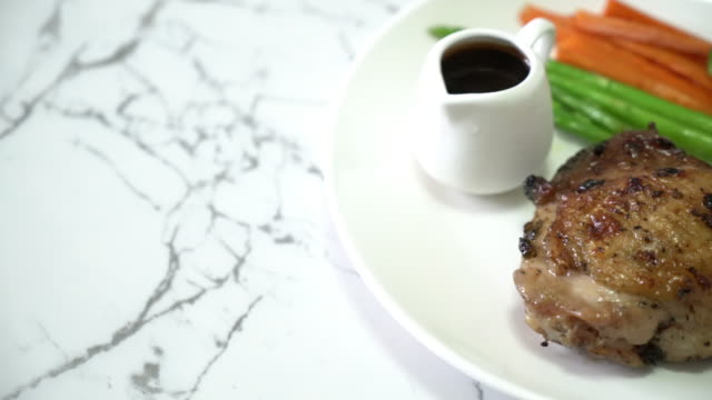 grilled chicken steak with vegetable video