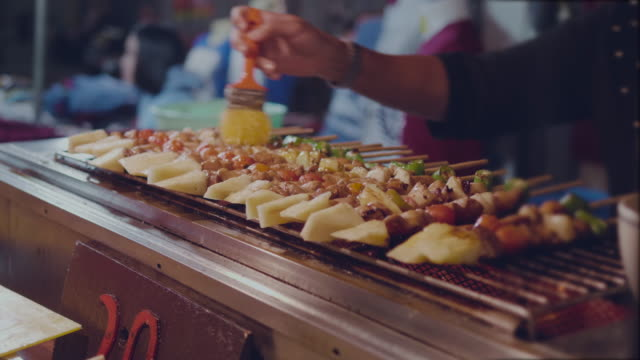 grilled food - spiedino video stock e b–roll