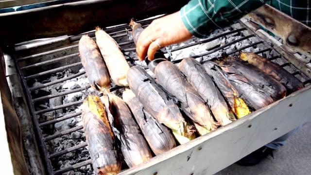 Grilled fresh corn on street market in Bangkok