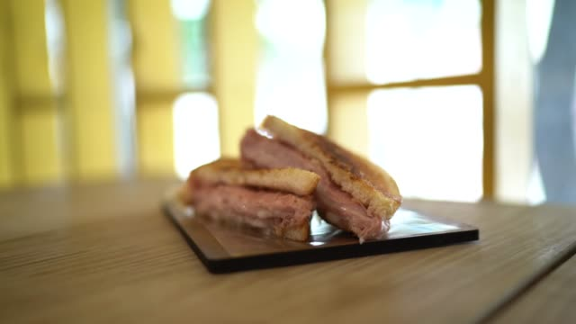 Grilled ham and cheese sandwiches