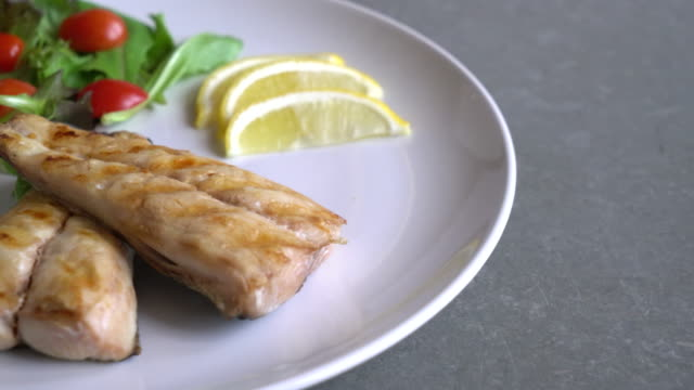 grilled mackerel steak grilled mackerel steak fillet stock videos & royalty-free footage