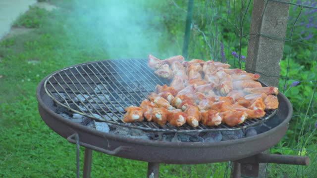 grilled meat on grill - skrzydło zwierzęcia filmów i materiałów b-roll