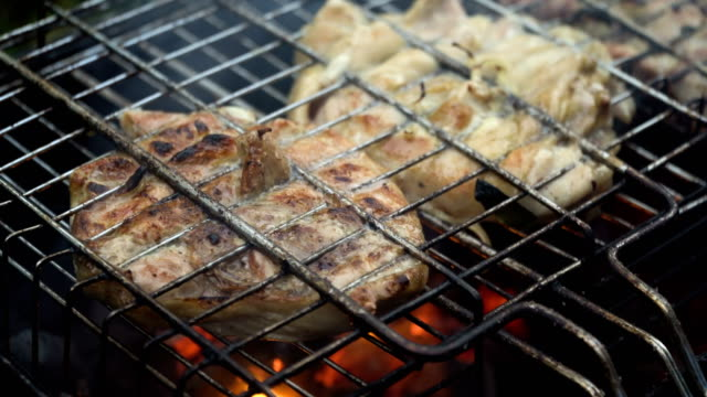Grilled meat on the flaming grill video