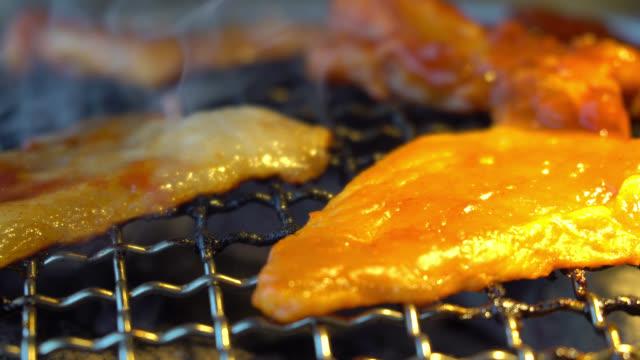 Grilled pork meat video
