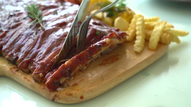 Grilled rib pork with barbecue sauce video