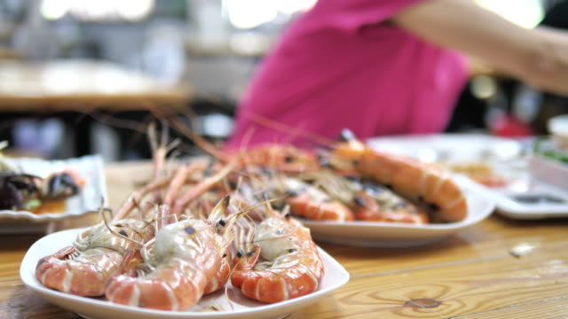 Grilled river prawn ready to eat on the table