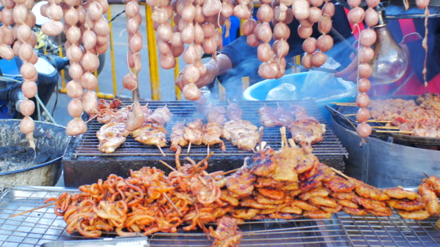Grilled sausage street food Thailand