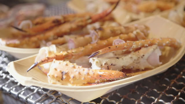 Grilled Seafood Crab legs in Japanese Street Food Market