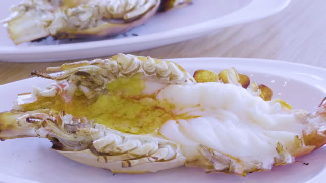 Grilled shrimp on plate video