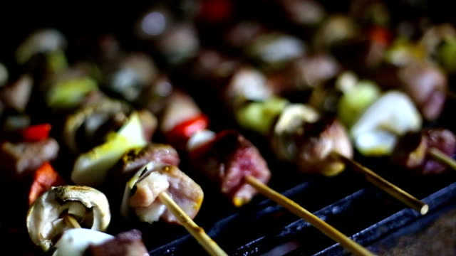 Grilled Skewers of sausage, mushrooms and onion on grill video