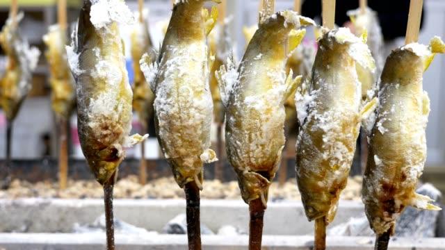 vidéos et rushes de sweetfish grillé avec du sel sur charbon de bois poêle - marché établissement commercial