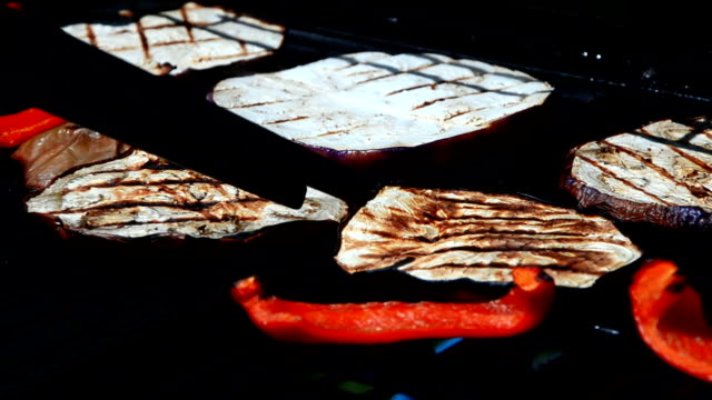 grilled vegetables, barbecue detail video