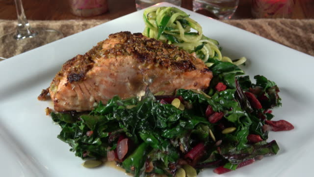 Grilled Wild Salmon Filet with Collard Greens and Zoodle (Zucchini Noodle) video